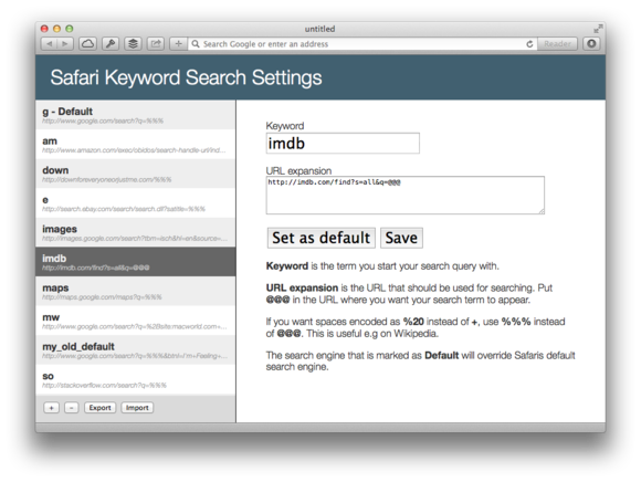 internet safari search